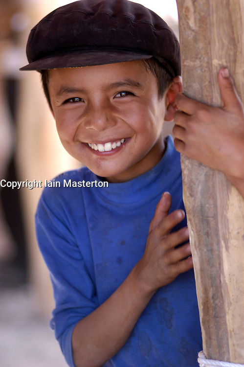 Portrait of young shepherd ay famous Sunday Market in Kashgar on ancient Silk Road in Xinjiang Province