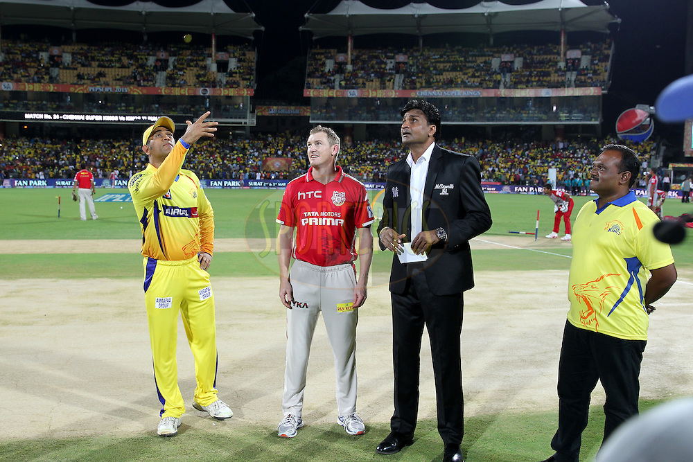 Mahendra Singh Dhoni captain of Chennai Super Kings during toss of match 24 of the Pepsi IPL 2015 (Indian Premier League) between The Chennai Superkings and The Kings XI Punjab held at the M. A. Chidambaram Stadium, Chennai Stadium in Chennai, India on the 25th April 2015.Photo by:  Prashant Bhoot / SPORTZPICS / IPL