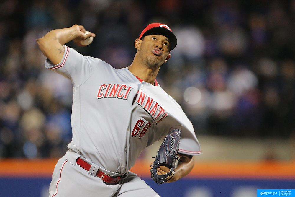 NEW YORK, NEW YORK - APRIL 25: JC Ramirez #66 of the Cincinnati Reds pitching during the New York Mets Vs Cincinnati Reds MLB regular season game at Citi Field on April 25, 2016 in New York City. (Photo by Tim Clayton/Corbis via Getty Images)