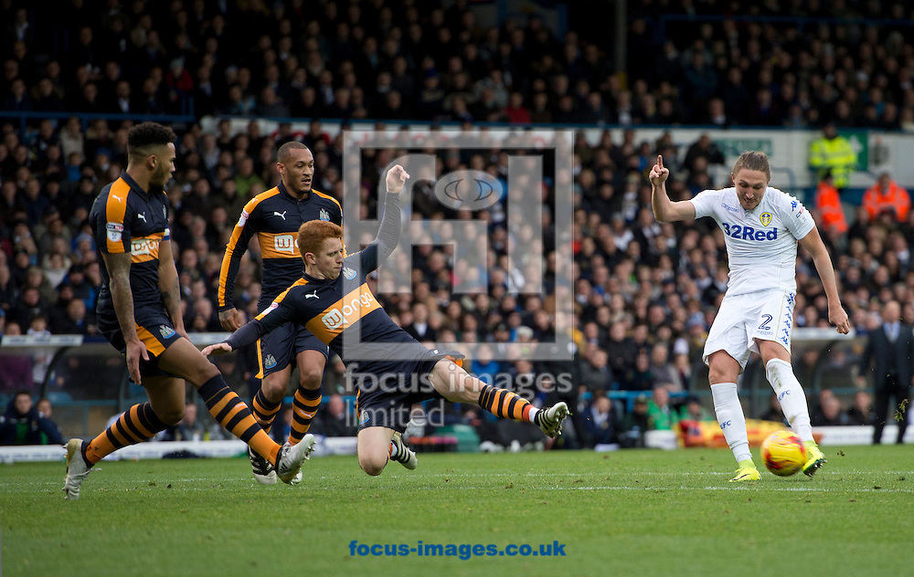 Luke Ayling of Leeds United shoots at goal during the Sky Bet Championship match at Elland Road, Leeds<br /> Picture by Russell Hart/Focus Images Ltd 07791 688 420<br /> 20/11/2016