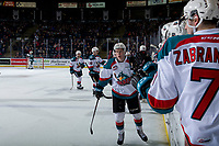 KELOWNA, CANADA - JANUARY 9:  Lassi Thomson #2 of the Kelowna Rockets celebrates his second goal against the Everett Silvertips on January 9, 2019 at Prospera Place in Kelowna, British Columbia, Canada.  (Photo by Marissa Baecker/Shoot the Breeze)