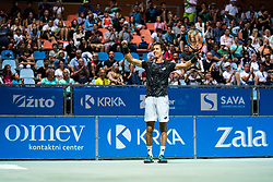 Aljaz Bedene of Slovenia reacts after winning final match during Day 10 of ATP Challenger Zavarovalnica Sava Slovenia Open 2019, on August 18, 2019 in Sports centre, Portoroz/Portorose, Slovenia. Photo by Matic Klansek Velej / Sportida