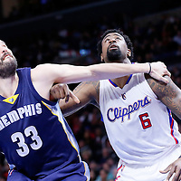 23 February 2015: Memphis Grizzlies center Marc Gasol (33) vies for the rebound with Los Angeles Clippers center DeAndre Jordan (6) during the Memphis Grizzlies 90-87 victory over the Los Angeles Clippers, at the Staples Center, Los Angeles, California, USA.