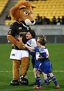 Hugs for Lio the Lion during the Mitre 10 Cup rugby match between the Wellington Lions & Canterbury at Westpac Stadium, Wellington. Friday 23rd August 2019. Copyright Photo: Grant Down / www.Photosport.nz