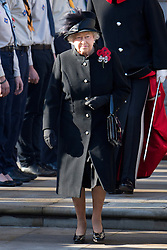 © London News Pictures. 11/11/2012. London, UK. HRH Queen Elizabeth II (pictured centre) leading other members of the British Royal Family and leading British politicians take part in  a Remembrance Day Ceremony at the Cenotaph on November 11, 2012 in London, United Kingdom. Photo credit: Ben Cawthra/LNP