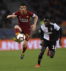 ROME, May 13, 2019  FC Juventus's Blaise Matuidi (R) vies with Roma's Alessandro Florenzi during a Serie A soccer match between Roma and FC Juventus in Rome, Italy, May 12 , 2019. Roma won 2-0. (Credit Image: © Xinhua via ZUMA Wire)