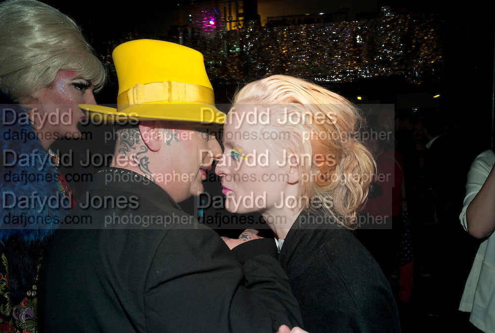 Boy George; Eleanor Jackson, party to celebrate Alexander Wang at Liberty and The Androgyny Issue of LOVE, hosted by Katie Grand, Alexander Wang, and Ed Burstell of Liberty, Liberty. Great Marlborough St. London. 21 February 2011. -DO NOT ARCHIVE-© Copyright Photograph by Dafydd Jones. 248 Clapham Rd. London SW9 0PZ. Tel 0207 820 0771. www.dafjones.com.