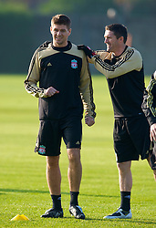 LIVERPOOL, ENGLAND - Monday, November 3, 2008: Liverpool's captain Steven Gerrard MBE and Robbie Keane during training at Melwood ahead of the UEFA Champions League Group D match against Club Atletico de Madrid. (Photo by David Rawcliffe/Propaganda)