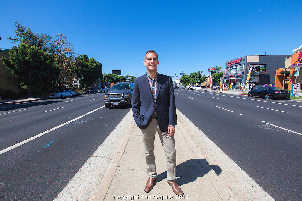 Los Angeles Mayor Eric Garcetti on Venice Blvd.