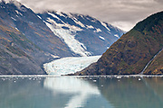 Distant view of Barry Glacier, a tidewater glacier in Barry Arm, Harriman Fjord, Prince William Sound near Whittier, Alaska.