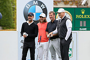Pep Guardiola Tommy Fleetwood Matt Le Tisser and Peter Schmeichel pose for a photo on the 1st hole during the Celebrity Pro-Am day at Wentworth Club, Virginia Water, United Kingdom on 23 May 2018. Picture by Phil Duncan.