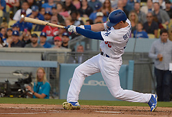 June 10, 2017 - Los Angeles, California, U.S. - Los Angeles Dodgers' Cody Bellinger hits a solo home run against the Cincinnati Reds in the first inning of a Major League baseball game at Dodger Stadium on Saturday, June 10, 2017 in Los Angeles. (Photo by Keith Birmingham, Pasadena Star-News/SCNG) (Credit Image: © San Gabriel Valley Tribune via ZUMA Wire)