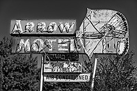 Arrow Motel neon sign in Europa, New Mexico, USA