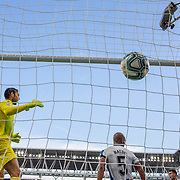 BARCELONA, SPAIN - August 18:  Goalkeeper Diego Lopez #13 of Espanyol and defender Naldo #5 of Espanyol are beaten by a shot from Sergio Reguilon, (bottom right) #23 of Sevilla for his sides first goal during the Espanyol V Sevilla FC, La Liga regular season match at RCDE Stadium on August 18th 2019 in Barcelona, Spain. (Photo by Tim Clayton/Corbis via Getty Images)