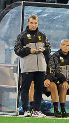 MELBOURNE, AUSTRALIA - Wednesday, July 24, 2013: Liverpool's manager Brendan Rodgers watches his side against Melbourne Victory during a preseason friendly match at the Melbourne Cricket Ground. (Pic by David Rawcliffe/Propaganda)