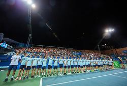 Ballboys during the Trophy ceremony after the Final Singles match at Day 9 of ATP Challenger Zavarovalnica Sava Slovenia Open 2018, on August 11, 2018 in Sports centre, Portoroz/Portorose, Slovenia. Photo by Vid Ponikvar / Sportida