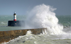 © Licenced to London News Pictures. 11-09-2017. Newhaven. Strong winds along the South coast creating huge waves at Newhaven, East Sussex. Photo credit: Peter Cripps/LNP