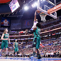 08 January 2014: Los Angeles Clippers center DeAndre Jordan (6) goes for the dunk on an alley-oop during the Los Angeles Clippers 111-105 victory over the Boston Celtics at the Staples Center, Los Angeles, California, USA.