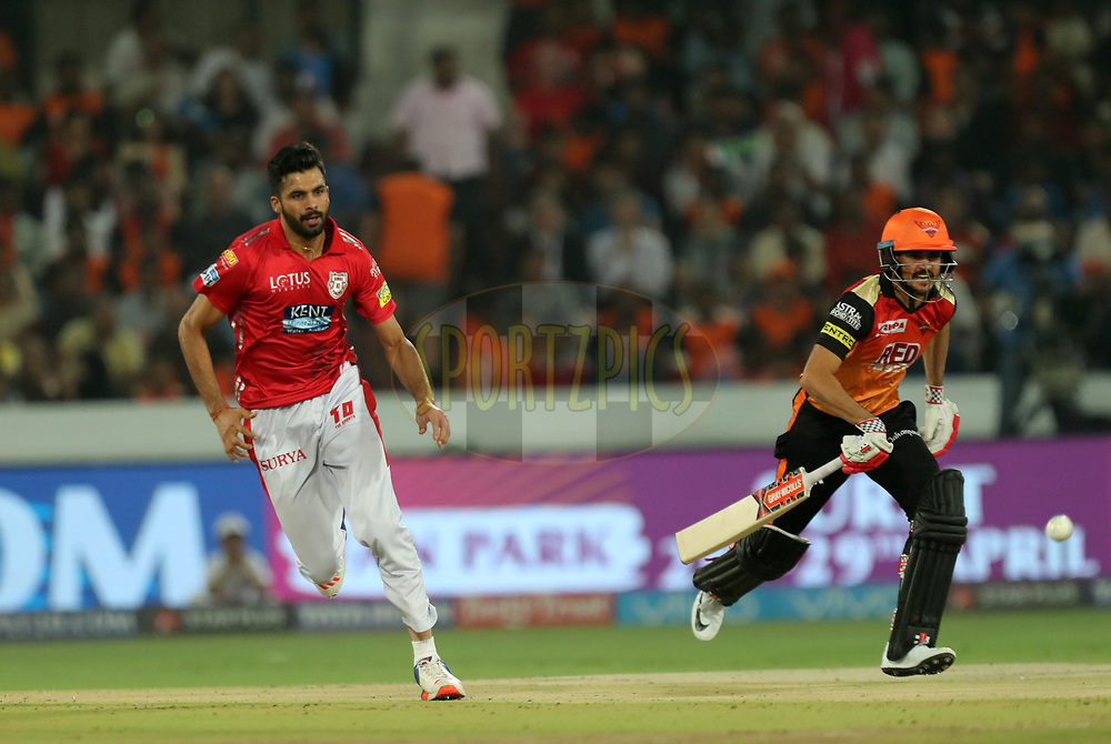 Barinder Sran of Kings XI Punjab during match twenty five of the Vivo Indian Premier League 2018 (IPL 2018) between the Sunrisers Hyderabad and the Kings XI Punjab  held at the Rajiv Gandhi International Cricket Stadium in Hyderabad on the 26th April 2018.<br /> <br /> Photo by: Prashant Bhoot /SPORTZPICS for BCCI