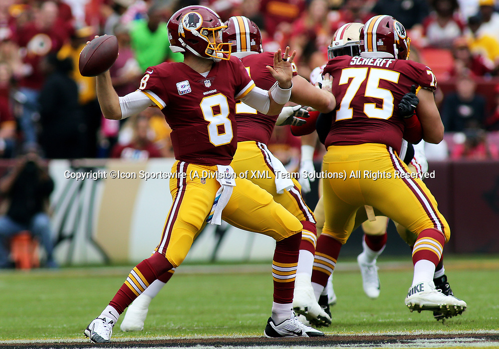 COLLEGE PARK, MD - OCTOBER 15: Washington Redskins quarterback Kirk Cousins (8) gets set to throw during a match between the Washington Redskins and the San Francisco 49ers on October 15, 2017, at FedExField in Landover, MD. (Photo by Daniel Kucin Jr./Icon Sportswire)