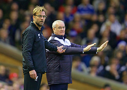 LIVERPOOL, ENGLAND - Boxing Day, Saturday, December 26, 2015: Liverpool's manager Jürgen Klopp and Leicester City's manager Claudio Ranieri during the Premier League match at Anfield. (Pic by David Rawcliffe/Propaganda)