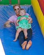 Mia Tindall & Autumn Phillips Ride Bouncy Castle