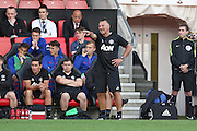 Warren Joyce Manchester United Manager gives instructions during the Under 23 Premier League 2 match between Southampton and Manchester United at St Mary's Stadium, Southampton, England on 22 August 2016. Photo by Phil Duncan.