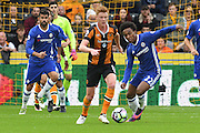 Hull City midfielder Sam Clucas (11) and Chelsea midfielder Willian (22) fight for ball  during the Premier League match between Hull City and Chelsea at the KCOM Stadium, Kingston upon Hull, England on 1 October 2016. Photo by Ian Lyall.