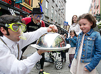 The Gombeens Miguel Barcelo and Jonathon Gunning who were out on the streets of Galway promoting the Galway Sea Festival which takes place over the June Bank Holiday weekend. The new four day family friendly festival which runs from 31st May- June 3rd is aimed at promoting Galway as a leading maritime centre..Festival organisers have unveiled an impressive list of water based activities and about town events all of which are either affordable to attend or free..From beach safaris to seafood trails, sandcastle competitions to windsurfing, day cruises and tours of the Irish Naval vessel LE Aoife, there will be something to attract even the most committed land lover!.A highlight of the festival weekend will be the Galway Sea Festival Regatta featuring the Galway Bay Sailing Club with spectacular Parades of Sail into Galway Harbour on the Friday and Saturday evenings. Adding colour will be the Traditional Boat Regatta from Badoiri na Cladaigh with special guest the Naomh Barbara skippered by Steve Mulkerrins who is travelling from Chicago for this flagship Galway Gathering event. Picture:Andrew Downes