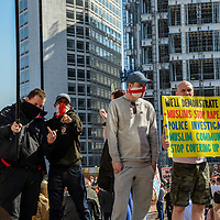 """April 8th, 2017 - Birmingham, UK: On the aftermath of the terrorist attacks in London on March 22nd, the English Defence League (EDF) stages a rally to protest the """"islamisation"""" of the UK, amongst other issues"""