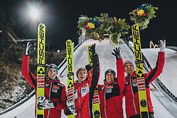 29.02.2020, Salpausselkae Hill, Lahti, FIN, FIS Weltcup Ski Sprung, Herren, Teamspringen, Siegerehrung, im Bild 3. Platz Österreich, v.l.: Philipp Aschenwald (AUT), Stefan Huber (AUT), Stefan Kraft (AUT), Michael Hayboeck (AUT) // 3rd placed Austria f.l.: Philipp Aschenwald of Austria Stefan Huber of Austria Stefan Kraft of Austria Michael Hayboeck of Austria during the winner ceremony for the men's team event of FIS Ski Jumping World Cup at the Salpausselkae Hill in Lahti, Finland on 2020/02/29. EXPA Pictures © 2020, PhotoCredit: EXPA/ JFK