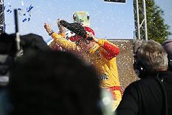 April 29, 2018 - Talladega, Alabama, United States of America - Joey Logano (22) takes the checkered flag and wins the GEICO 500 at Talladega Superspeedway in Talladega, Alabama. (Credit Image: © Justin R. Noe Asp Inc/ASP via ZUMA Wire)
