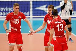 20170524 NED: 2018 FIVB Volleyball World Championship qualification, Koog aan de Zaan<br />Nicolai Grabmuller (15) of Austria, Paul Buchegger (18) of Austria<br />©2017-FotoHoogendoorn.nl / Pim Waslander