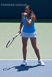 July 31, 2011; Stanford, CA, USA;  Marion Bartoli (FRA) celebrates after a point against Serena Williams (USA), not pictured, during the finals of the Bank of the West Classic women's tennis tournament at the Taube Family Tennis Stadium.