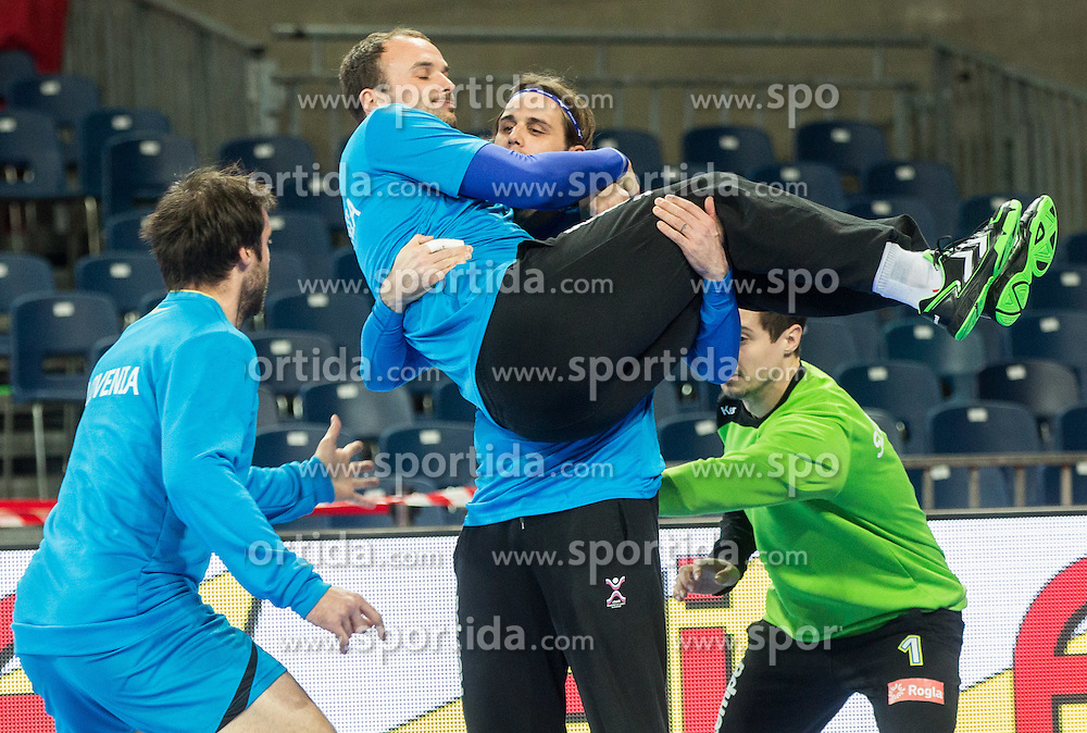 Uros Zorman of Slovenia and Dean Bombac of Slovenia during practice session of Team Slovenia on Day 1 of Men's EHF EURO 2016, on January 15, 2016 in Centennial Hall, Wroclaw, Poland. Photo by Vid Ponikvar / Sportida