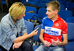 Journalist Alenka Teran Kosir and Tomaz Nose, rider of KK Adria Mobil when he retires as a professional cycling athlete, on November 6, 2014 in Cesca vas, Novo mesto. Foto: Vid Ponikvar / Sportida