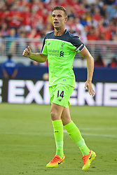 SANTA CLARA, USA - Saturday, July 30, 2016: Liverpool's captain Jordan Henderson in action against AC Milan during the International Champions Cup 2016 game on day ten of the club's USA Pre-season Tour at the Levi's Stadium. (Pic by David Rawcliffe/Propaganda)