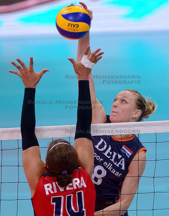 29-05-2015: Volley Masters Dominicaanse Republiek - Nederland, Montreux<br /> Nederland wint ook de laatste wedstrijd met 3-0 en wordt daarmee groepswinnaar / Judith Pietersen #8