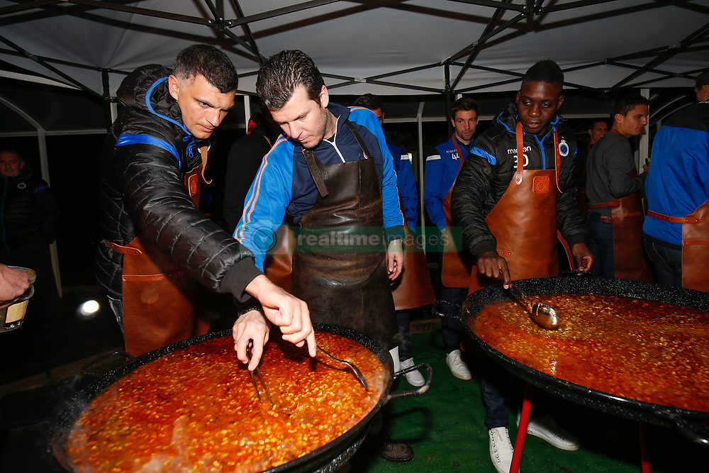 January 9, 2018 - San Roque, SPAIN - Club's goalkeeper Vladimir Gabulov, chef Gert de Mangeleer and Club's Marvelous Nakamba pictured during a cooking class in the evening of day six of the winter training camp of Belgian first division soccer team Club Brugge, in San Roque, Spain, Tuesday 09 January 2018. BELGA PHOTO BRUNO FAHY (Credit Image: © Bruno Fahy/Belga via ZUMA Press)