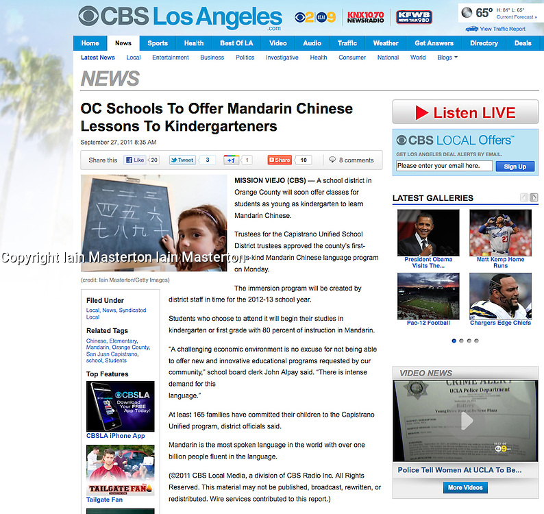 Tearsheet from CBS website