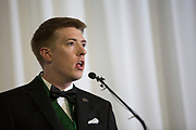 Matthew Denhart accepts the Charles J. and Claire O. Ping Recent Graduate Award at the Alumni Awards Gala on October 6, 2017.