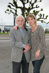 French and armenian singer, Charles Aznavour, celebrates his 92 years old with his daughter and his family. They went to a japanese restaurant called MoshiMoshi, in Geneva, Switzerland, on May 22, 2016. Photo by Loona/ABACAPRESS.COM