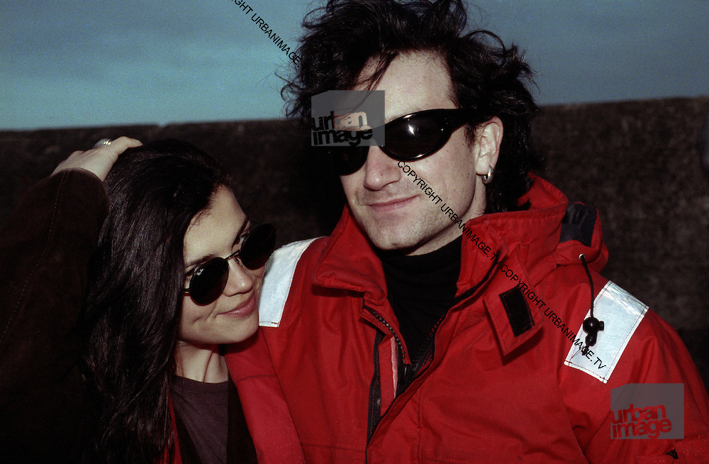 Irish rock group U2 - Bono and wife Ali Hewson on the Rainbow Warrior, photographed at Greenpeace protest at the Sellafield Nuclear Plant in June 1992.