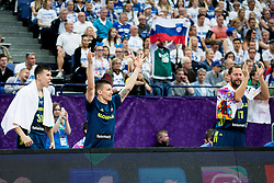 Vlatko Cancar of Slovenia, Matic Rebec of Slovenia and Sasa Zagorac of Slovenia react during basketball match between National Teams of Finland and Slovenia at Day 3 of the FIBA EuroBasket 2017 at Hartwall Arena in Helsinki, Finland on September 2, 2017. Photo by Vid Ponikvar / Sportida