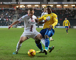 Milton Keynes Dons' Lee Hodson is challenged by Coventry City's Franck Moussa - Photo mandatory by-line: Nigel Pitts-Drake/JMP - Tel: Mobile: 07966 386802 30/11/2013 - SPORT - Football - Milton Keynes - Stadium mk - MK Dons v Coventry City - Sky Bet League One