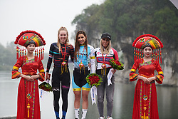 Top three: Arlenis Sierra Canadilla (CUB), Hannah Barnes (GBR) and Sara Mustonen (SWE) at GREE Tour of Guangxi Women's World Tour 2018, a 145.8 km road race in Guilin, China on October 21, 2018. Photo by Sean Robinson/velofocus.com