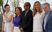 Director Rebecca Zlotowski, director Joana Hadjithomas, director Abderrahmane Sissako, actress Cecile De France and actor Daniel Olbrychskide at the Jury De La Cinefondation Et Des Courts Metrages  film photo call at the 68th Cannes Film Festival Thursday May 21st 2015, Cannes, France.