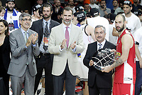 Olympiacos Piraeus' Vassilis Spanoulis with the Second Position trophy in the Euroleague Final Match in presence of King Felipe VI of Spain. May 15,2015. (ALTERPHOTOS/Acero)