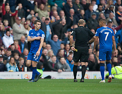 Seamus Coleman of Everton (L) is sent off by referee Graham Scott - Mandatory by-line: Jack Phillips/JMP - 05/10/2019 - FOOTBALL - Turf Moor - Burnley, England - Burnley v Everton - English Premier League