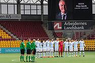 FODBOLD: Stilhed til ære for H.K.H. Prins Henrik før  kampen i ALKA Superligaen mellem FC Helsingør og AC Horsens den 18. februar 2018 på Right to Dream Park i Farum. Foto: Claus Birch.